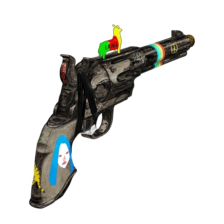 HIPPY GUN - gun, love, peace, LAMA - kasiminami | ello