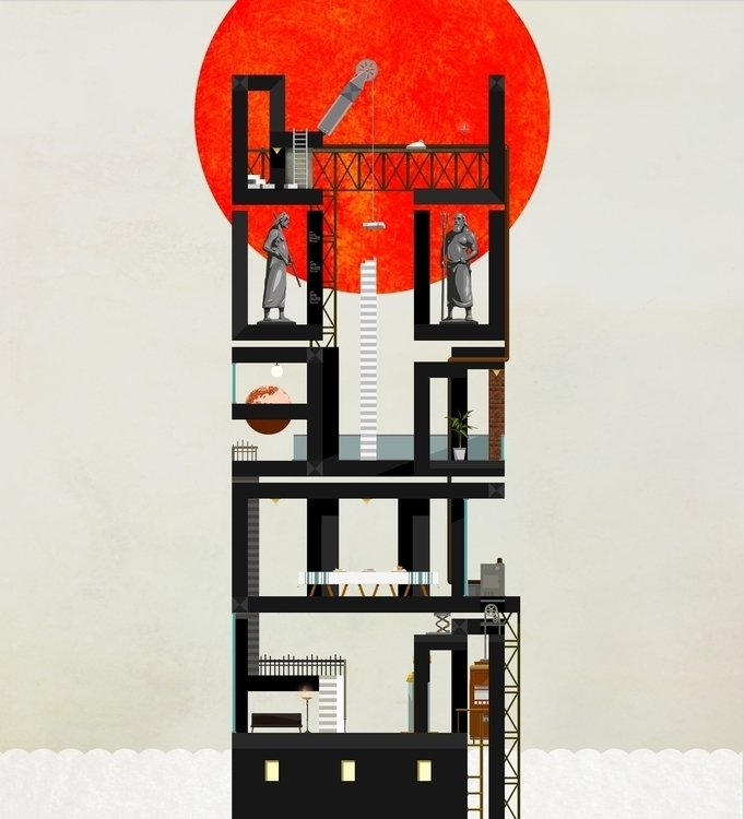 TOWER BABEL - tower, god, sun, stairway - kasiminami | ello