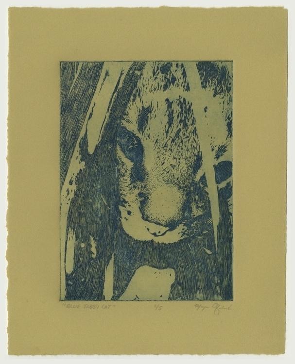 Blue Tabby Cat - cat, printmaking - morganofsharick | ello