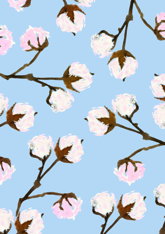 cotton - floral, flowers, painting - lisaprisk | ello