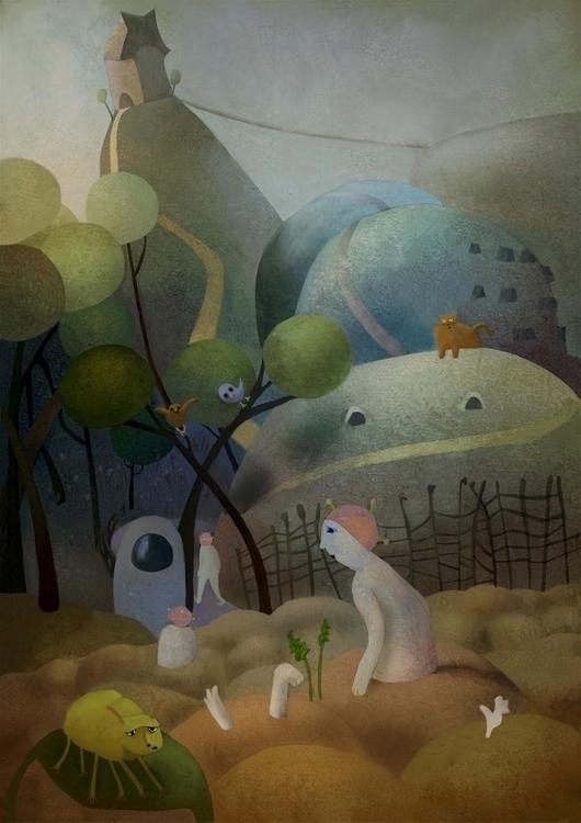 illustration, plantpeople, birth - anna_warzecha | ello