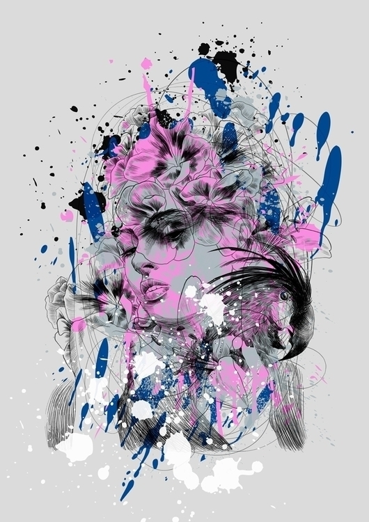 Black parrot - print, portrait, illustration - elnuramurzataeva | ello