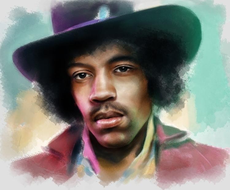Jimi Hendrix - illustration, painting - annagosteva | ello