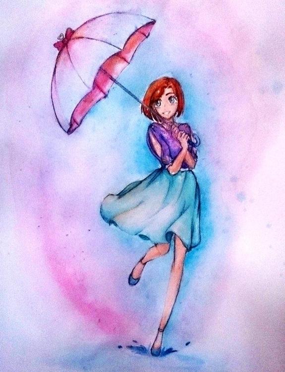Happy rainning - illustration, painting - evenoize | ello