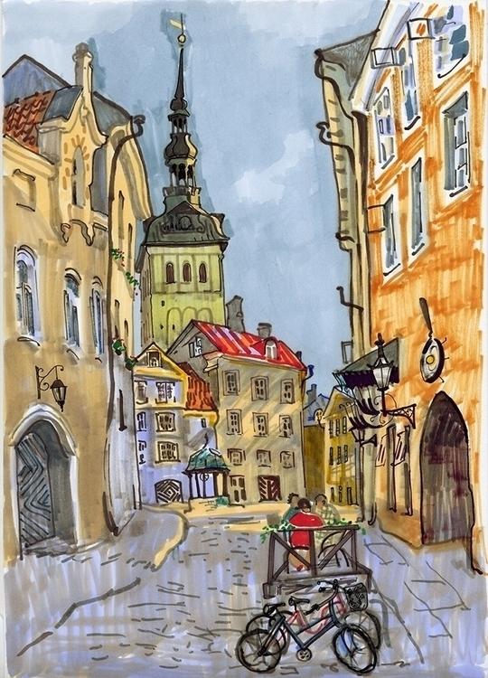 Tallinn, markers, sketch, travel - naktisart | ello