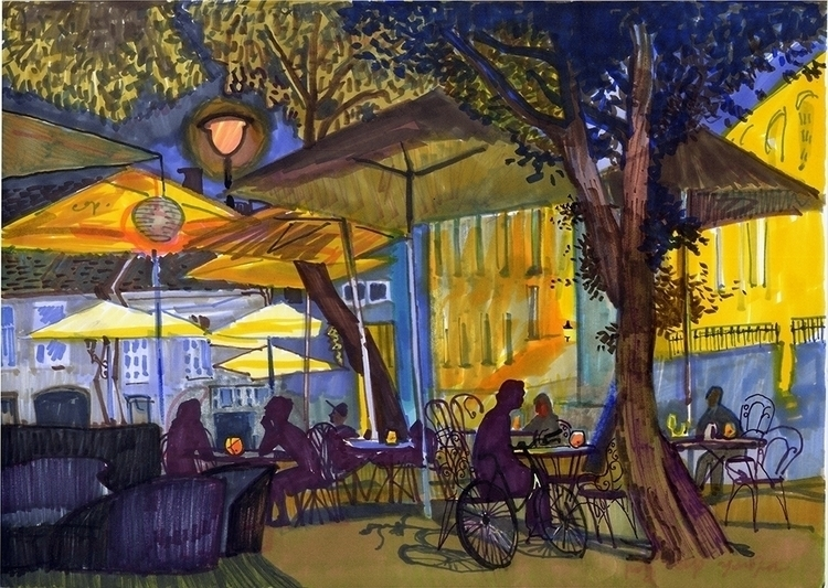 vilnius, night, city, cafe, people - naktisart | ello