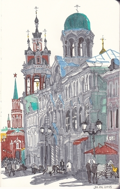 moscow, travel, sketch, markers - naktisart | ello