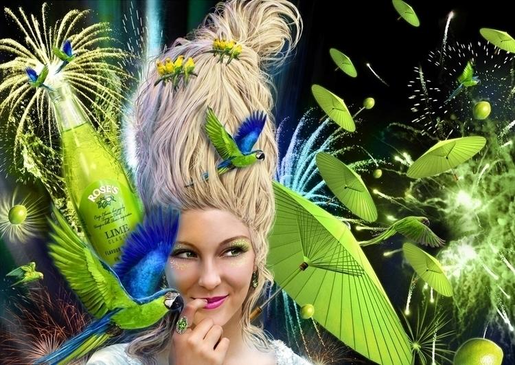 Roses Lime - DigitalIllustration - vantage-9372 | ello