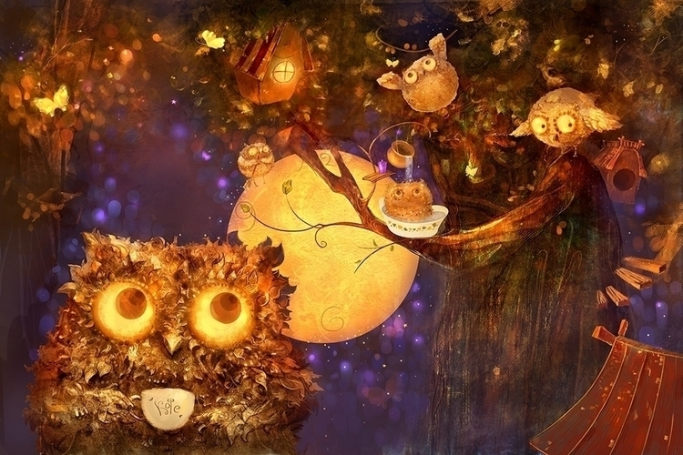 owl bed - illustration - smokepaint | ello