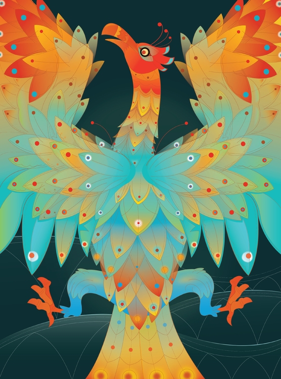 Phoenix Rising - illustration, design - rakitha | ello