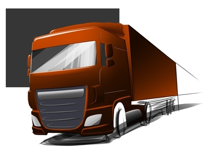 DAF Euro 6 truck. Line sketch r - dijkstrajorn | ello