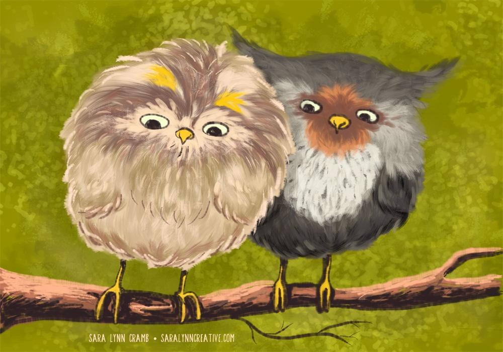 Fluffy Baby Owls - owl, owls, baby - saralynncramb   ello
