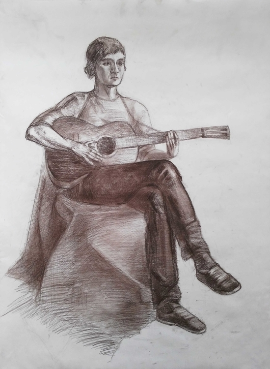 Boy guitar. Paper, pastel - painting - 2djanel   ello