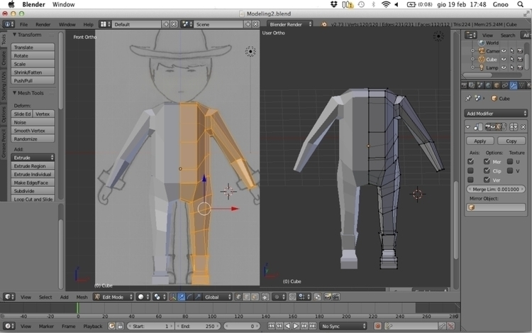 Character Modeling phase 1 (bas - h3ml0ck | ello