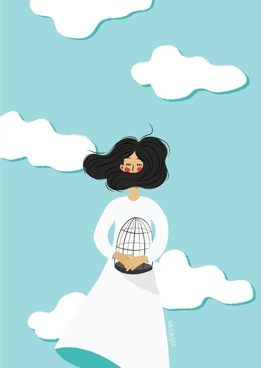 illustration, drawing, blue, sky - nhunguyet | ello