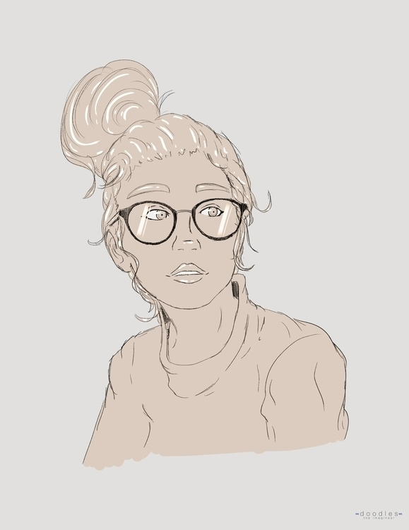 Girl glasses - art, lineart, sketch - doodles-4576 | ello