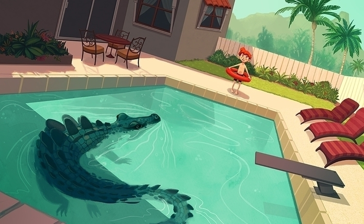Good Time Swim - crocodile, boy - mel-1081 | ello