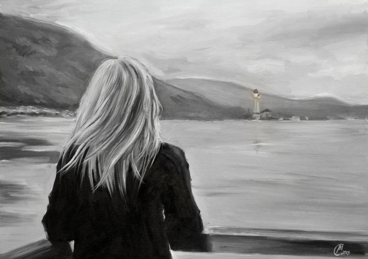 Lighthouse - waiting, painting, river - lanamarandina | ello