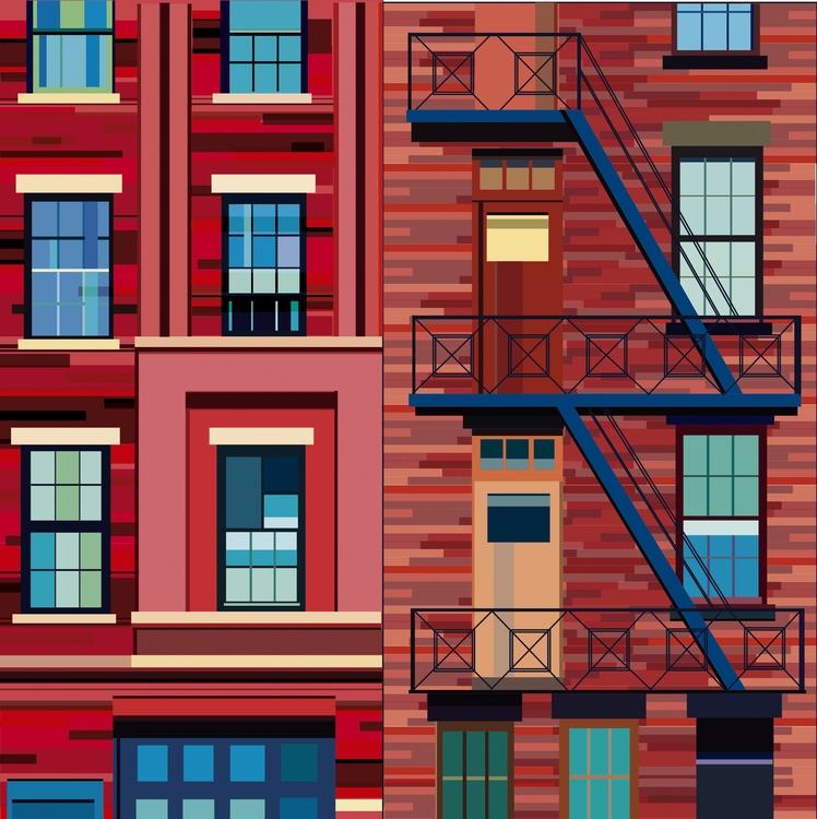 windows nyc - illustration, painting - grafika-5226 | ello