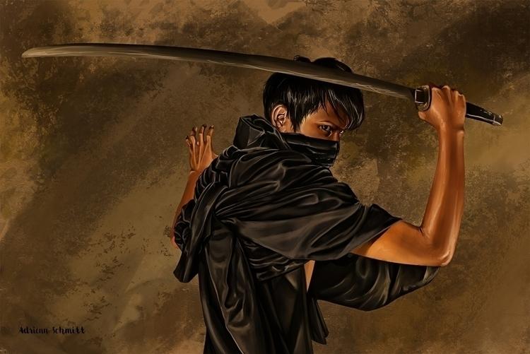Samurai - digitalpainting - adriennschmitt   ello
