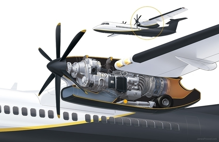 Turboprop Engine Cutaway - technicalillustration - jamesprovost | ello