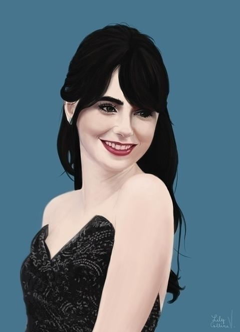 Lily Collins - illustration, painting - veeyah-1368 | ello
