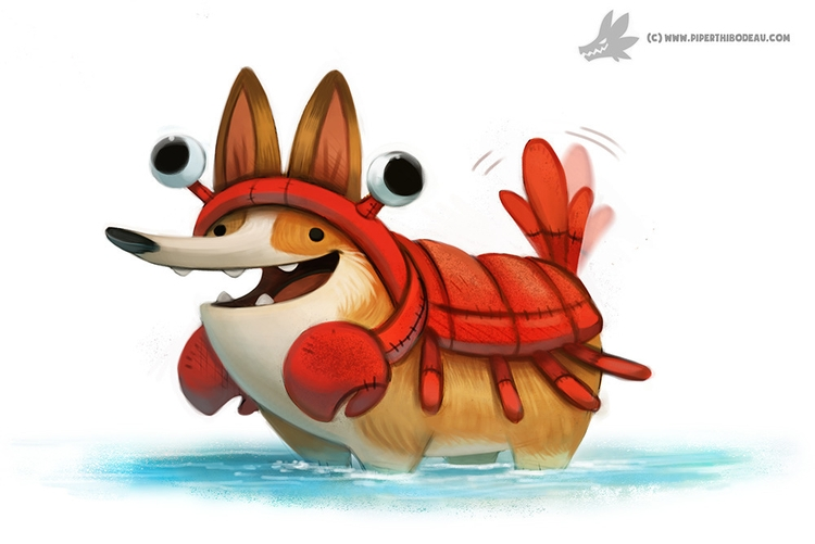Daily Painting - Corgi Lobster - piperthibodeau | ello