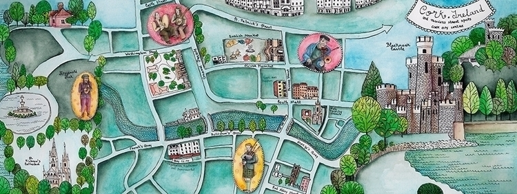 Cork city map. Color version - illustration - isabelvalfigueira | ello