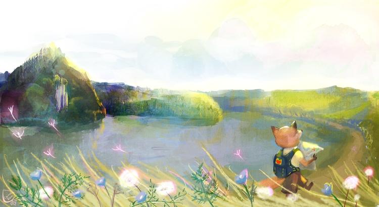 pond - illustration, fox, cute - carrotrain | ello