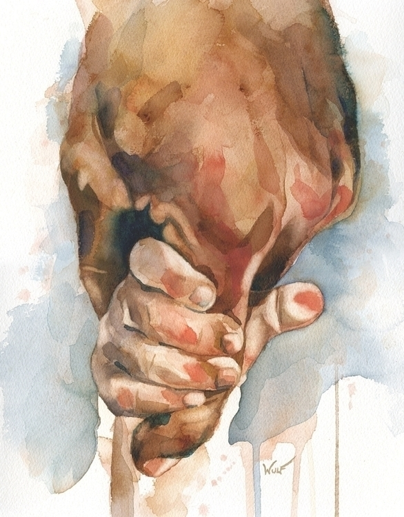 Holding - watercolor, hands, fingers - scottwulf | ello