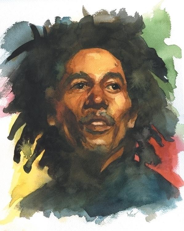Bob - bobmarley, watercolor, portraitillustration - scottwulf | ello