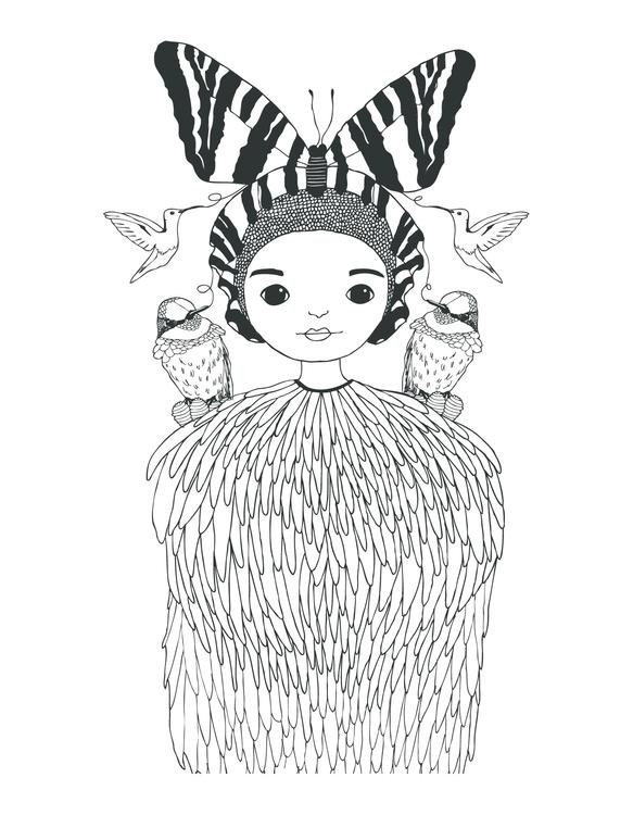 Butterfly Girl Print Created ig - karitasdottir | ello