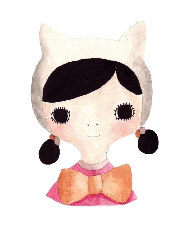 Handpainted Cat Girl Print Crea - karitasdottir | ello