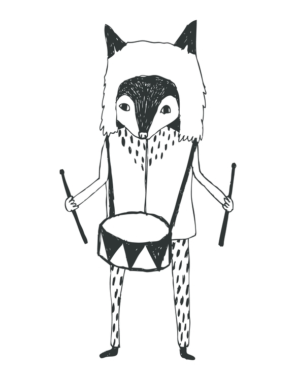 Fox Drummer Print Created iglo+ - karitasdottir | ello