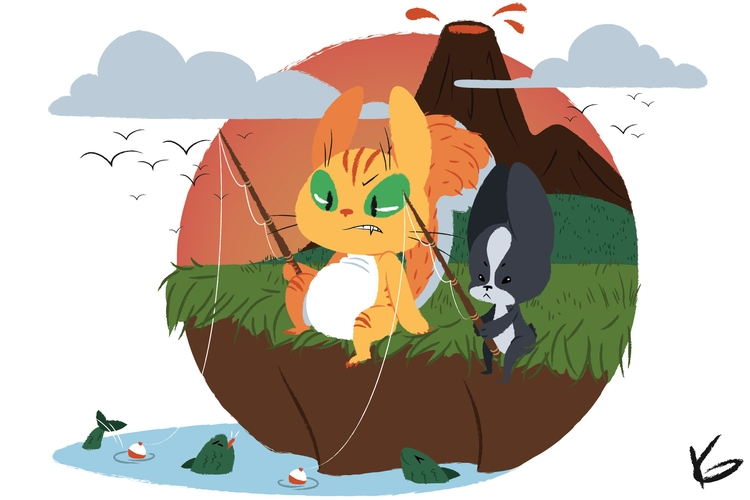 Fishing - illustration, children'sillustration - kaseythegolden | ello