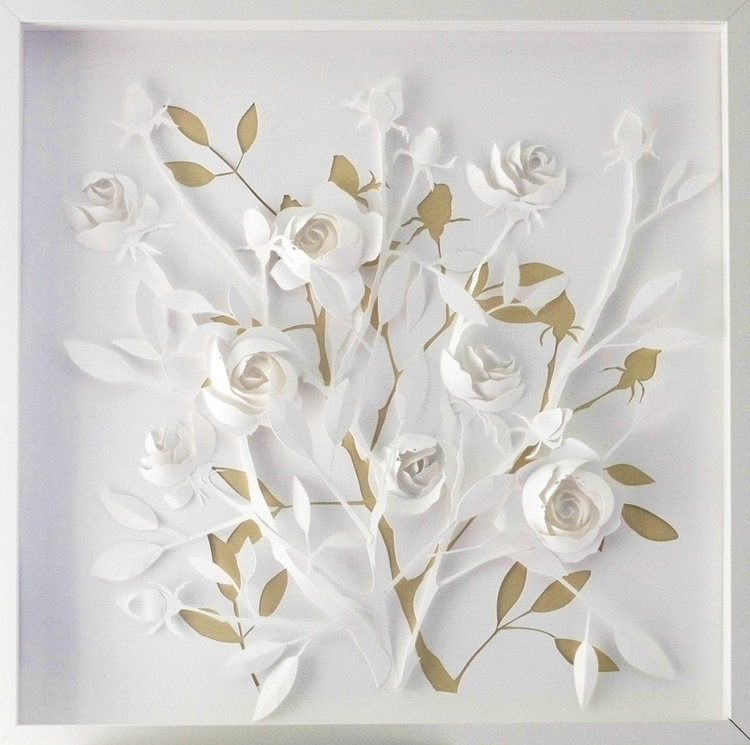 roses, gold, white, bush, art - talamaskanka | ello