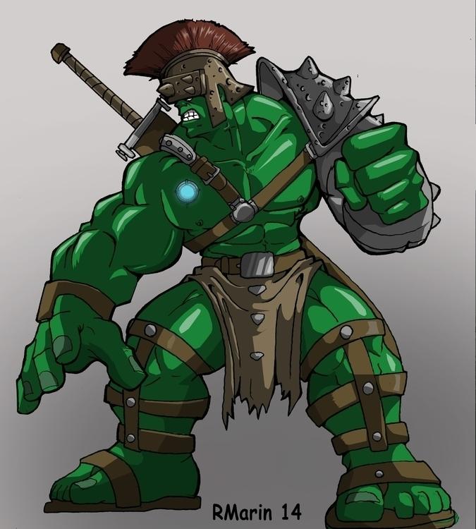 Planet Hulk - illustration, hulk - rickmarin   ello