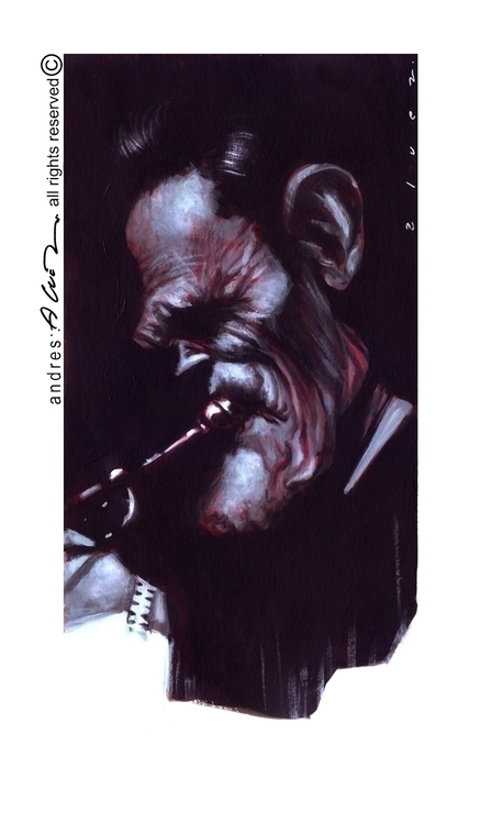 Chet Baker - painting, portrait - andresalvez | ello