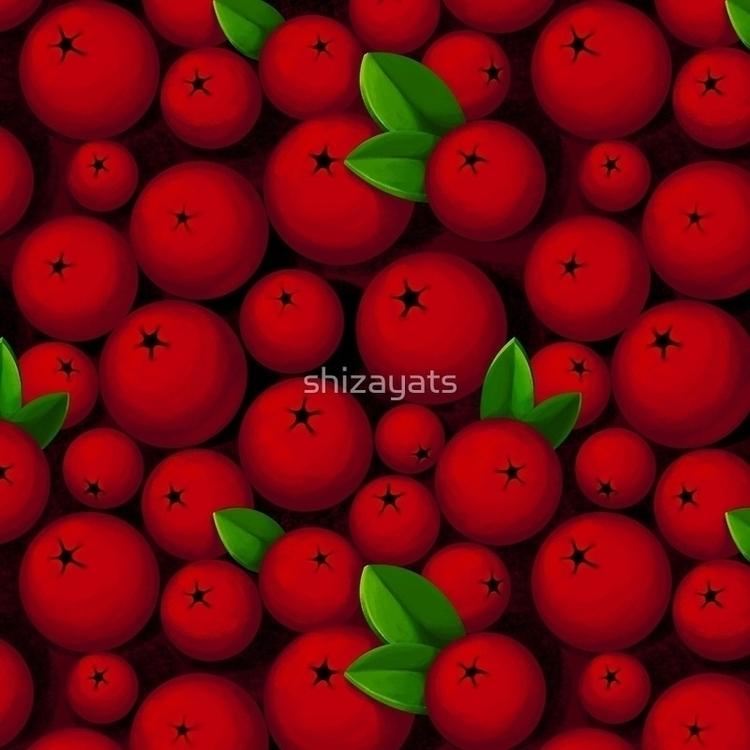 Red Berries - pattern, berries, fabric - pushkina | ello