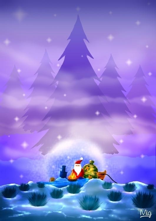 Night Santa - illustration, drawing - mig-5292 | ello