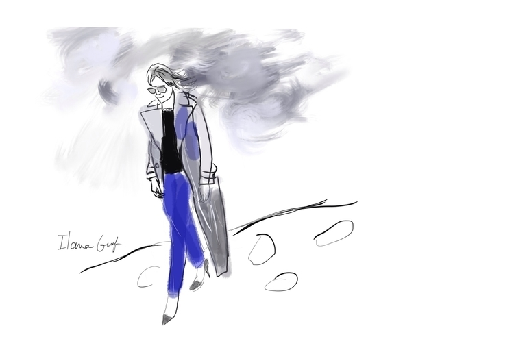 Blue woman walking - illustration - ilanagraf | ello