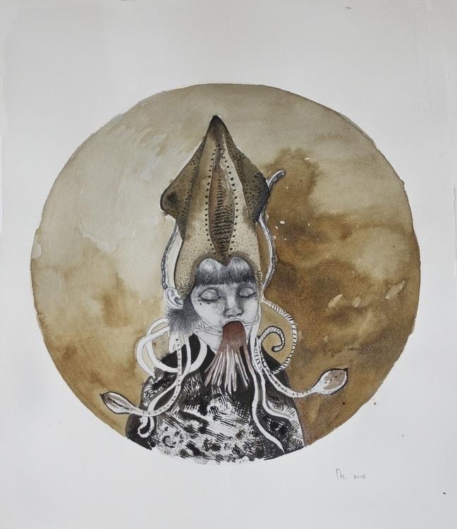 Oceanid Child sea - drawing, seanymph - minienhattingh   ello