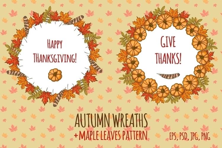 Thanksgiving wreaths - illustration - pushkina   ello
