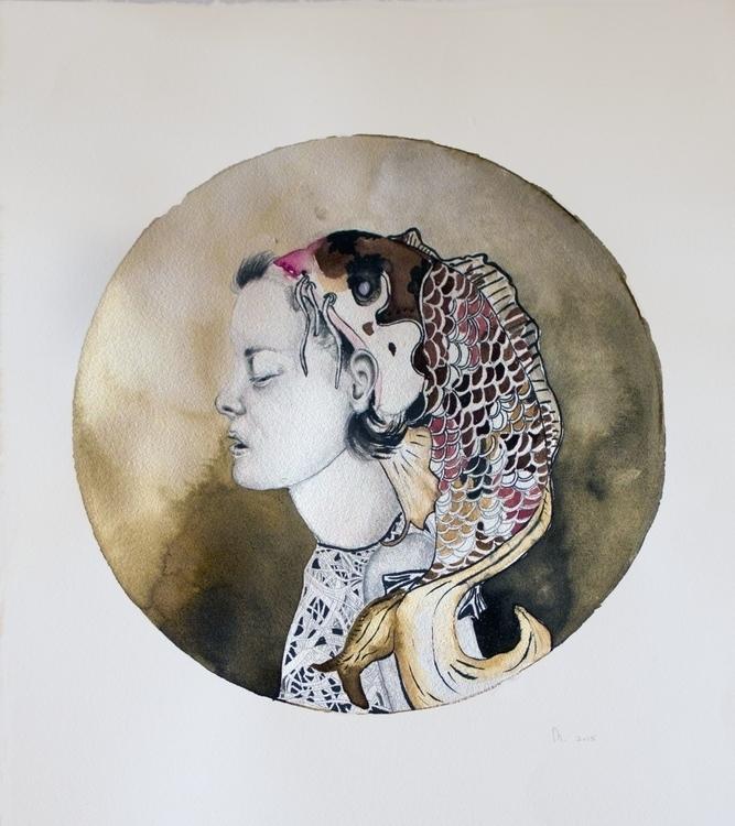 Coy Koi - drawing, nymph, fineart - minienhattingh   ello