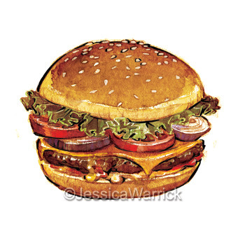 Hamburger - hamburger, food, foodillustration - jessicawarrick | ello