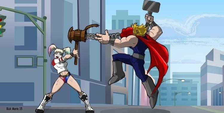 Harley Quinn Thor - illustration - rickmarin | ello