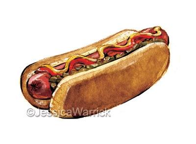 Hotdog - food, foodillustration - jessicawarrick   ello