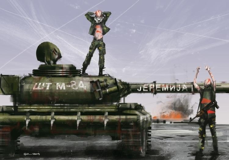 Tribal Tank - illustration, drawing - raschomon | ello