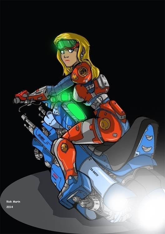 Future Biker Chick - illustration - rickmarin | ello