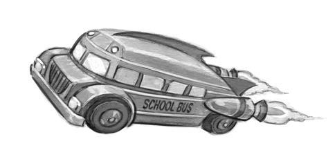 Rocket Schoolbus - schoolbus, blackandwhite - jessicawarrick | ello